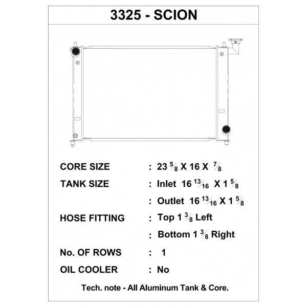 CSF Wärmetauscher Wasserkühler für Scion tC 2004-2010