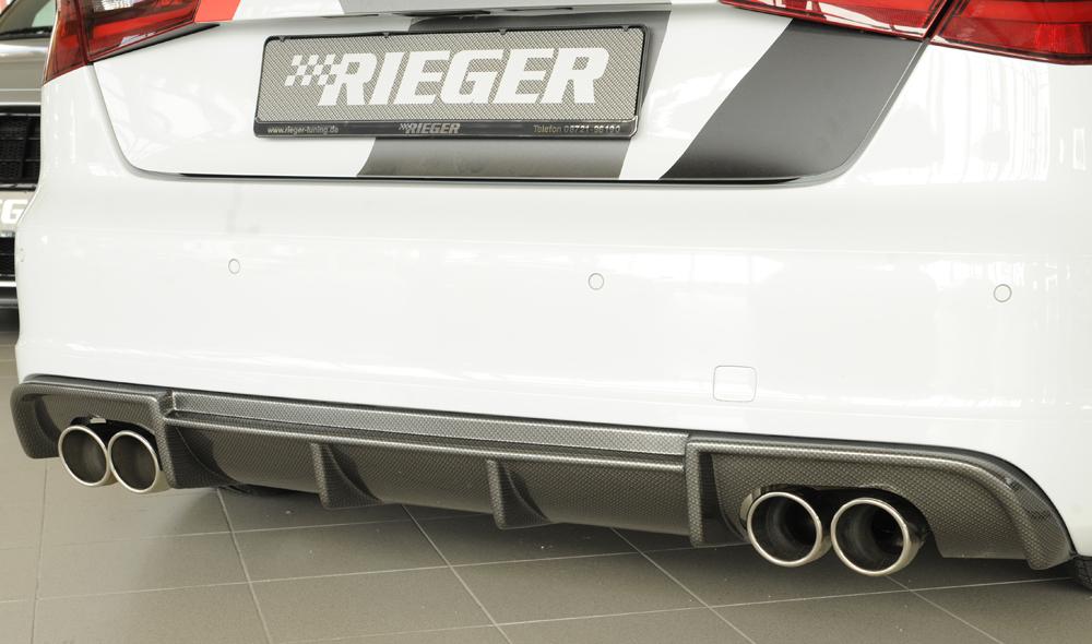 Heckeinsatz Rieger Tuning für Doppelendrohr Sportauspuff links  Audi A3 8P